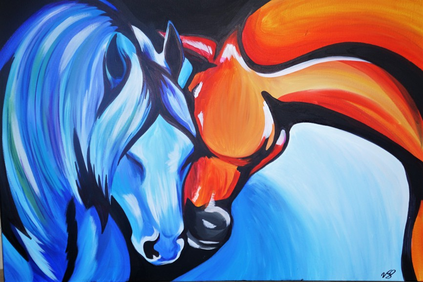 Veronica Stewart - Fire and Ice , Acrylic on canvas, 30x40 inches - 76x101 cm