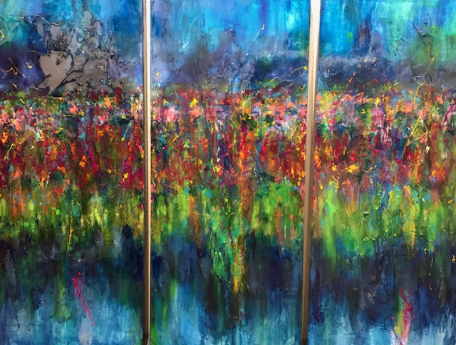 William Braemer - Moonlight Garden I II III - 54x23 inches, 137x58 cm each panel - mixed media on canvas